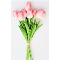 Yapay Çiçek Deposu Yapay 8li Islak Lale Buketi Gerçek Doku Açık Pembe