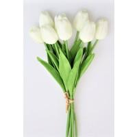 Yapay Çiçek Deposu Yapay 8li Islak Lale Buketi Gerçek Doku Beyaz