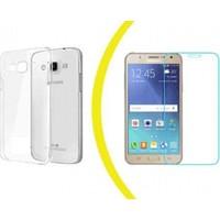 TeknoArea Samsung j2 silikon + kırılmaz cam