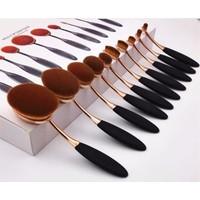 Virtual Bronz Saplı 10'lu Oval Kaşık Fırça Makyaj Fırçası