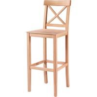 Masifart 7205 Çapraz Izgaralı Bar Sandalye Cilasız Ahşap