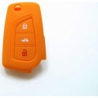Toyota Avensis Anahtar Kabı Koruyucu Silikon Kılıf 3 Tuş (Turuncu)