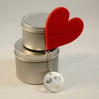 Affix Silver Özel Tasarım 925 Ayar Gümüş Emoji Aşık Yüz Kolye