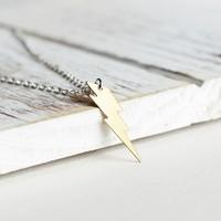 Affix Silver Özel Tasarım Şimşek İşareti 925 Ayar Altın Renk Gümüş Kolye