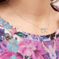 Affix Silver Gümüş Özel Tasarım İsimli Çift Kalp Kolyesi