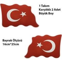 Nettedarikcisi Ozy Türk Bayrağı Dalgalı Büyük Oto Sticker 1 Takım 16Cm*25Cm