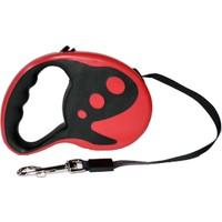 Dog Leash Desenli Otomatik Şerit Tasma Kırmızı 5m