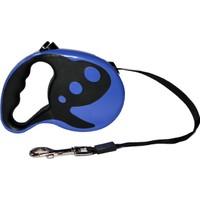 Dog Leash Desenli Otomatik Şerit Tasma Mavi 5m