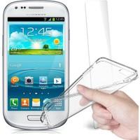 Fuqqa Samsung Galaxy S3 Mini Kırılmaz Cam Ekran Koruyucu + Şeffaf Silikon Kılıf