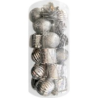 KullanAtMarket Gümüş Yılbaşı Ağaç Süs Seti 24lü