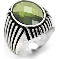 Welch Yeşil Zirkon Taş Detaylı Erkek Gümüş Yüzük