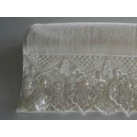 Fransız Güpürlü Ağır Krem İncili 50x90 Kadife Havlu