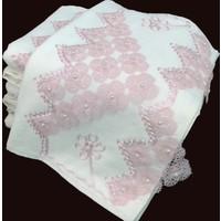 Osmanlı Tekstil 12'Li Osmanlı İğne Oyalı 50X90 Kadife Çeyizlik Havlu Krem Pudra
