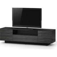 Sonorous 180 Cm 78'' Uyumlu Glosy Siyah Kasa Amazon Rengi 2 Kapaklı 1 Çekmeceli Tv Sehpası