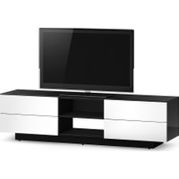 Sonorous 180 Cm 78'' Uyumlu Glosy Siyah Kasa Glosy White Rengi 4 Çekmeceli Tv Sehpası