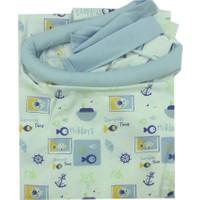 Sevi Bebe Tokalı Emzirme Örtüsü Balık Desenli Mavi