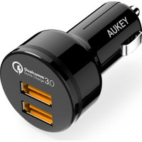 Aukey 2 Portlu Siyah Araç İçi Şarj Cihazı Hızlı Şarj Qualcomm 3.0
