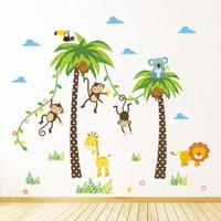 Zooyoo Çocuk Ve Bebek Odası Sevimli Koala Zürafa Maymun Yeni Sezon Duvar Sticker