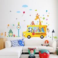 Zooyoo Çocuk Ve Bebek Odası Panda Zebra Zürafa Tur Okul Otobüsü Duvar Resim Sticker 170X100 Cm Bitmiş Boyut