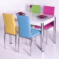 Evform Gökkuşağı Mutfak Masa Takımı Masa Sandalye Seti