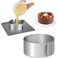 Narkalıp Ayarlanabilir Paslanmaz Yuvarlak Pasta Kek Kalıbı 16Cm İle 30Cm Arası 8Cm