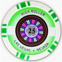 Pusula Oyun High Roller 25 Adet Poker Çipi (Las Vegas Nevada 11,5 Gr Clay Poker Fişi, 25'Lik Chip)