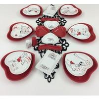 Keramika Kalp Peri Masalı 22 Parça 6 Kişilik Kahvaltı Takımı