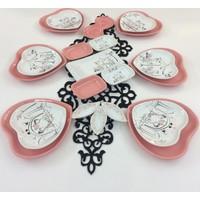 Keramika Peri Masali Pembe 21 Parça 6 Kişilik Kahvaltı Takımı