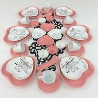 Keramika Peri Masali Aşk Pembe 36 Parça 6 Kişilik Kahvaltı Takımı