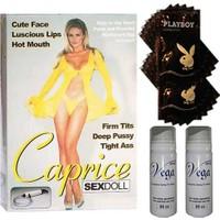 Caprice Sarı Saçlı Titreşimli Şişirme Pompalı 3 İşlevli Şişme Kadın