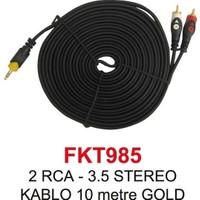 2Rca - 3,5Mm Stereo Kablo 10 Metre Gold