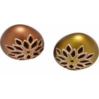 Bronz ve Altın Renkli İkili Seramik Yumurta