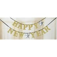 KullanAtMarket Altın Happy New Year Harf Afiş