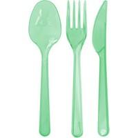 KullanAtMarket Transparan Yeşil Çatal Bıçak Kaşık Seti