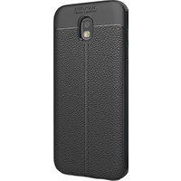 KNY Samsung Galaxy J7 Pro J730 Kılıf Deri Görünümlü Lux Niss Silikon+Kırılmaz Cam