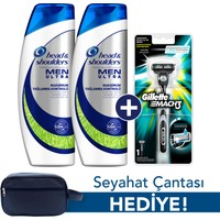 Head & Shoulders Men Ultra Maksimum Yağlanma Kontrolü Şampuan 2 x 500 ml + Gillette Mach 3 Tıraş Makinesi