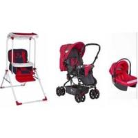 Taşpınar+Dolphin+Pashababy Bebek Travel Sistem Bebek Arabası Puset + Mama Sandalyeli Salıncak Lüx Bebek Salıncağı 3 Lü Set