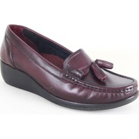 Comfort 884 Bayan Deri Fiyonklu Günlük Ayakkabı Bordo