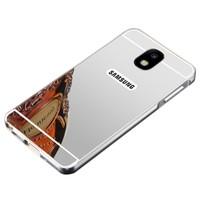 Teleplus Samsung Galaxy J7 Pro Aynalı Metal Kapak Kılıf + Tam Kapatan Cam Ekran Koruyucu
