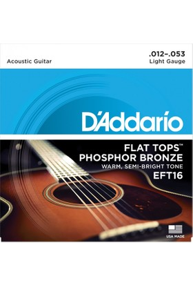 Daddarıo Eft16 Akustik Tel Set 012 Flat Light Zımparalı