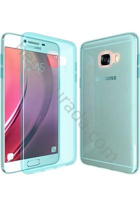 Case 4U Samsung Galaxy C5 Kılıf Ultra İnce Silikon Mavi