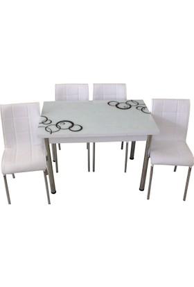 Mutfak Masası Takımı Cam Siyah Halka Yan Açılır Masa+4 Beyaz Deri Sandalye