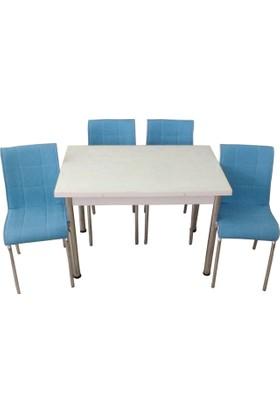 Mutfak Masası Takımı Cam Beyaz Yan Açılır Masa+4 Mavi Deri Sandalye