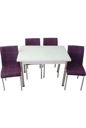 Mutfak Masası Takımı Cam Beyaz Yan Açılır Masa+6 Mor Deri Sandalye