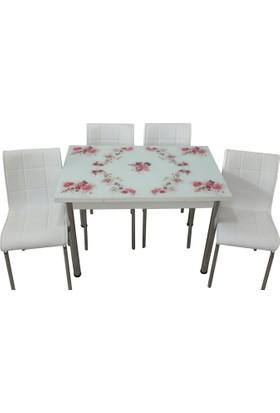 Mutfak Masası Takımı Cam Pembegül Yan Açılır Masa +6 Beyaz Deri Sandalye