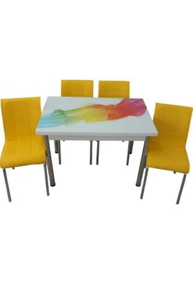 Mutfak Masası Takımı Cam Duman Yan Açılır Masa +4 Sarı Deri Sandalye