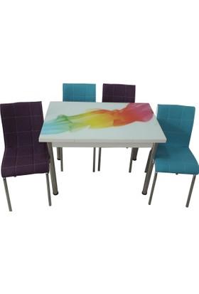 Mutfak Masası Takımı Cam Duman Yan Açılır Masa +2 Mavi 2 Mor Deri Sandalye