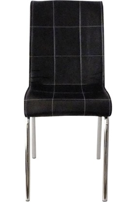 Mutfak Masası Sandalyesi Pet 4 Siyah Deri Sandalye