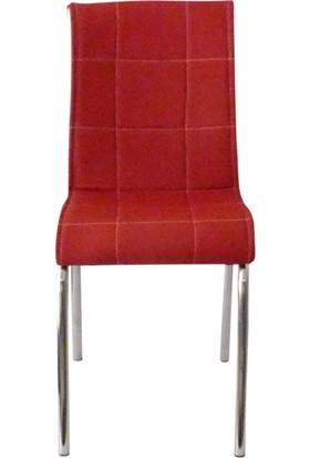 Mutfak Masası Sandalyesi Pet 4 Kırmızı Deri Sandalye