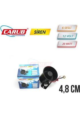 Carub Siren 12V 20W Güvenlik 6 Sesli 4.8Cm
